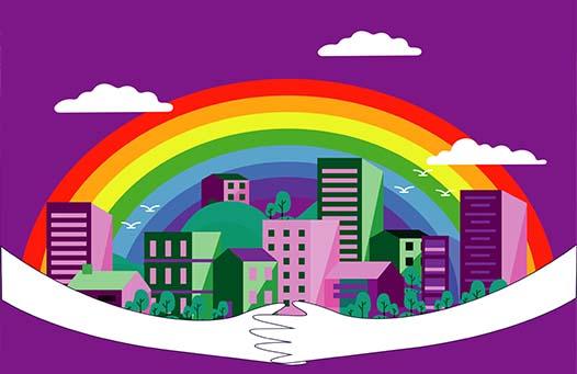 Ilustración de una ciudad con arcoíris, abrazada por dos brazos, representando el cuidado de una ciudad